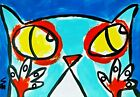 """Original ACEO Cat Painting """"Surprised"""" Miniature Art By Samantha McLean"""
