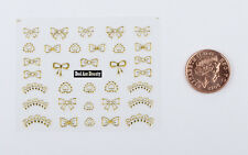Gold Glitter Bows Tips Laces 3D Nail Art Stickers Decals UV Acrylic Decoration