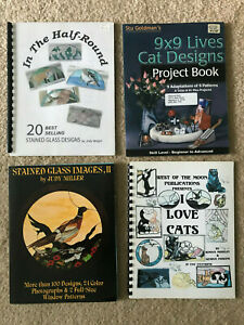 LOT OF 15 STAINED GLASS PATTERN BOOKS.Boxes, seasonal, cats, and animals
