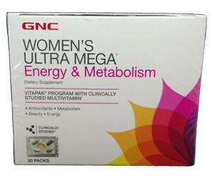 GNC Women's Ultra Mega Energy & Metabolism - 30 Packs, Exp 05/2021, #9825