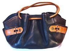 Cole Haan Slouch Drawstring Bucket Bag Black Brown Pebble Leather Multi Pocket