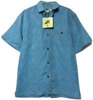 Joe Marlin Mens Mallard Blue Button Hawaiian Shirt Size Medium New