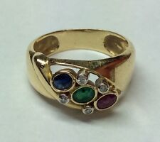 RUBY EMERALD SAPPHIRE DIAMOND 18K YELLOW GOLD RING SIZE 7.25
