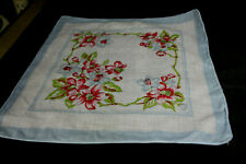 Vintage White withRed Blue Floral Flowers Hankie Handerchief
