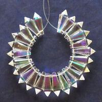 24 pcs/set Faceted White Titanium Crystal Teardrop Pendant Bead N1553