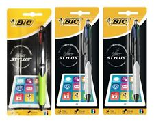 3 x BIC 4 Colour Stylus Retractable Ball Pen 926404 100% Brand New