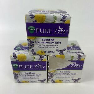(3) Vicks Pure Zzzs Soothing Aromatherapy Balm with Essential Oils 1.76 oz - NIB