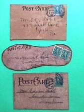 LOT 3 RARE Dated 1906 LEATHER POSTCARDS Waynesboro Pa. Colorado Springs E. FEHL