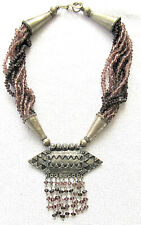 glass large amulet necklace, 193 gr Indo-Persian antique low silver and amethyst