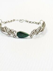 Artisan silver Tone Blue Green Teardrop Stone Cut Out Scroll Bracelet 7.75 Inch