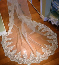 1 Tier Bridal Veil Sequined Lace Edge Rhinestone Cathedral Length White/Ivory