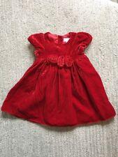 Janie & Jack Red Velvet Holiday Dress Rosettes Full Length Sz 3-6 Mon EUC