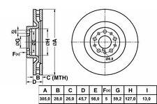 Front Vented Brake Disc 305mm Fiat Doblo 10-15 263 1.3 D Multijet 2.0 D Multijet