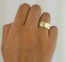 10K Solid Yellow Gold 8MM Plain Wedding Band Ring Men Women Offer Engraving