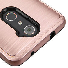 ZTE ZMAX PRO CARRY Z981 BLADE X MAX ROSE GOLD BLACK BRUSHED CASE CARBON COVER