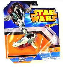 STAR WARS, BOBA FETTS SLAVE 1 RAUMSCHIFF, HOTWHEELS,INCLUDING SPECIAL STAND, NEW