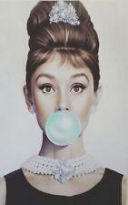 """Audrey Hepburn Chicle Gran Impresión de lona 30"""" X 20"""""""
