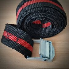 8 BLACK & RED CAM BUCKLE TIE DOWN STRAPS LUGGAGE RACK TRAILERS 25 X 2500 MM LONG