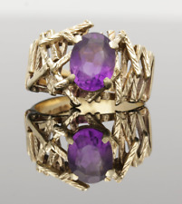 VINTAGE 9CT YELLOW GOLD AMETHYST RING - 1972