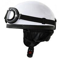 Oldtimerhelm Eierschale + Brille Weiß L 59/60 für DDR Moped Motorradhelm Roller