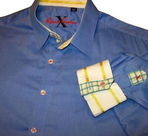 ROBERT GRAHAM X Collectn Flip Cuff Shirt XL) 17 x 36 Embroidered Logo Slate Blue
