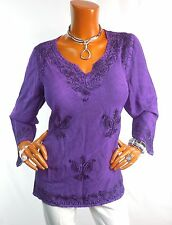 A TRADERS Womens Top L NWT BOHO Tunic Shirt Peasant Blouse Purple Embroidery