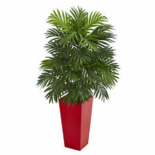 Areca Palm Artificial Plant In Red Planter Realistic Nearly Natural Home Decor