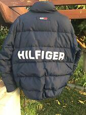 Vintage 90s Tommy Hilfiger Down Puff Hip Hop Box Flag Logo Spellout Jacket - M