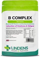 Vitamin B Complex (Balanced B Vitamins) x 100 Tablets; Fatigue; Lindens
