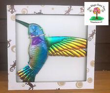 Metal and glass Hummingbird wall art sculpture decor bird ornament