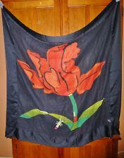 RaRe Vtg Michaele VOLLBRACHT Flower Bug Floral Art Print Gauze WOOL SCARF SHAWL
