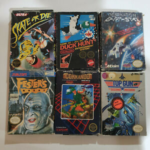 6 Nes Nintendo Game Boxes Lot Poor Condition.