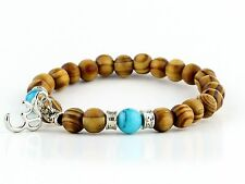 Om Charm Yoga Blue Turquoise Wooden Beads Meditation stretch Bracelet Fits all