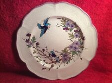 Gorgeous  Emaux de Longwy Enameled Birds with Purple Flowers Plate, ff485