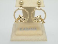 Authentic Kabana 14k Yellow Gold,  Dolphin in Hoop Earring Sapphire Eyes  NEW