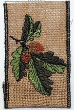 """5 Yd. roll Jute Burlap Embroidered Acorn Wire Edge Ribbon 2 1/2"""" Wide"""