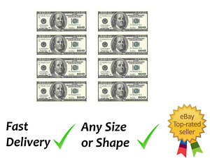 6 x 100 dollar note cake topper decoration edible wafer icing sheet