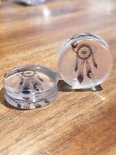 Pair Dream Catcher Clear Acrylic Ear Plugs Flesh Tunnel Stretcher Taper 8-30mm