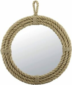 Nautical Vintage Small Round Rope Mirror with Hanging Loop, Vintage Design,Brown