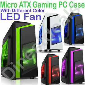 CiT F3  Micro ATX Tower Gaming PC Case USB 3.0 12cm  LED Fan mATX Side Window UK