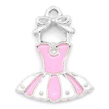 20PCs Charm Pendants Dress Enamel Pink White Silver Tone 21x16mm