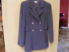 BEBE Trench Coat BLAZER Jacket SLATE BLUE Dressy Classy Collared Belted Sz 6