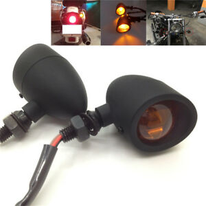 2x Black Metal Motorcycle Indicator Bulb Turn Signal Light Custom Universal 12V