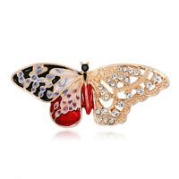 Fashion Rhinestone Butterfly Insect Enamel Brooch Collar Scarf Pin Women Jewelry