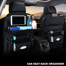 PU Leather Car Seat Back Organiser Storage Bag Tray Foldable Table Cup Holder