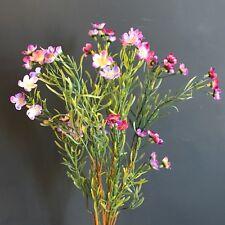 Bunch of Pink Purple Artificial Wax Flowers, Realistic Faux Silk Wild Meadow