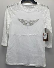 ARIAT 10010747 WOMEN'S WHITE CHAIN WING TOP SIZE L NEW WITH TAGS