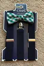 Nwt Boys Chaps Andes Gingham Bow tie & Navy Blue Suspenders Adjustable, O/S