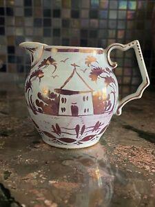 JOSEPH PALIN THORLEY Pink Luster Small Pottery Pitcher JPT WILLIAMSBURG VA 1940s