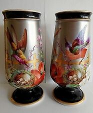 PAIR OF 19TH CENTURY VIVIAN ? FRENCH PORCELAIN PLATINUM GROUND VASES WITH BIRDS